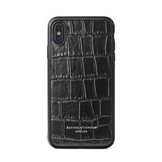 iPhone Xs Case with Black Edge in Deep Shine Black Croc