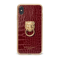 Lion iPhone Xs Max Case in Bordeaux Patent Croc