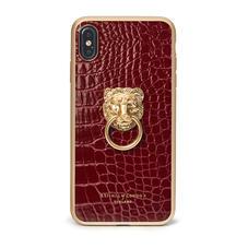 Lion iPhone Xs Max Case in Bordeaux Patent Croc