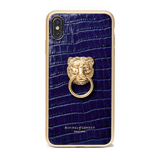 Lion iPhone Xs Max Case in Deep Shine Midnight Blue Small Croc