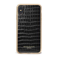 iPhone Xs Max Case with Gold Edge in Black Patent Croc