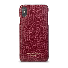 iPhone Xs Max Case in Bordeaux Patent Croc