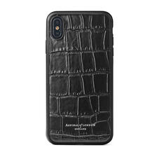 iPhone Xs Max Case with Black Edge in Deep Shine Black Croc
