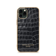 iPhone 11 Pro Case with Gold Edge in Black Small Croc