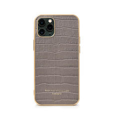 iPhone 11 Pro Case with Gold Edge in Deep Shine Warm Grey Small Croc