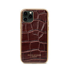 iPhone 11 Pro Case with Gold Edge in Deep Shine Amazon Brown Croc