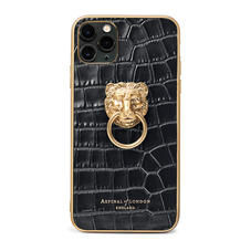 Lion iPhone 11 Pro Max Case in Deep Shine Black Small Croc