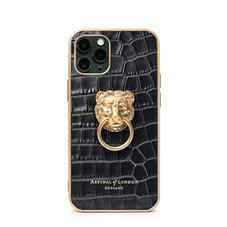 Lion iPhone 11 Pro Case in Deep Shine Black Small Croc
