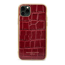 iPhone 11 Pro Max Case with Gold Edge in Deep Shine Bordeaux Croc