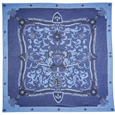 Signature Shield Cashmere Blend Scarf in Blue