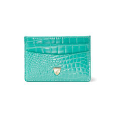 Slim Credit Card Holder in Chalkhill Blue Patent Croc