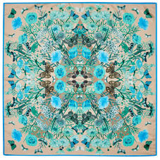 Botanical 'A' Silk Scarf in Storm Pure Silk