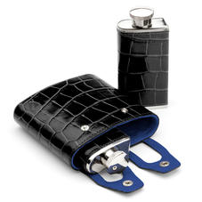 Double 6oz Leather Hip Flask in Deep Shine Black Croc & Cobalt Suede