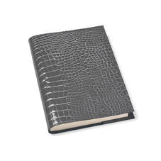 A5 Refillable Leather Journal in Storm Patent Croc