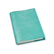A5 Refillable Leather Journal in Chalkhill Blue Patent Croc