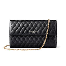 London Clutch Purse with Chain in Black Quilted Kaviar