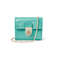 Small Mayfair Purse with Chain in Chalkhill Blue Patent Croc