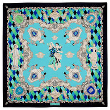 Harlequin Cherub Silk Scarf in Blue Pure Silk Twill