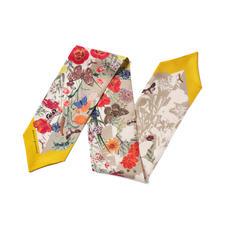 Botanical 'A' Silk Neck Bow Scarf in Poppy Pure Silk
