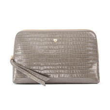 Large Essential Cosmetic Case in Deep Shine Warm Grey Small Croc