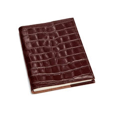 A5 Refillable Leather Journal in Deep Shine Amazon Brown Croc