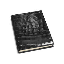 A5 Refillable Leather Journal in Deep Shine Black Croc