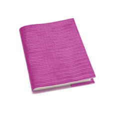 A5 Refillable Leather Journal in Deep Shine Hibiscus Small Croc