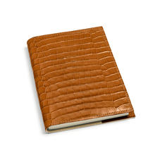 A5 Refillable Leather Journal in Deep Shine Vintage Tan Small Croc