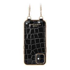 iPhone 12 Mini Chain Case in Deep Shine Black Small Croc