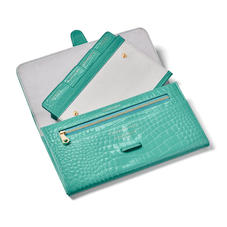 Travel Wallet with Removable Inserts in Chalkhill Blue Patent Croc