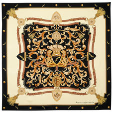 Aspinal Signature Shield Silk Scarf in Black