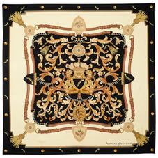 Aspinal Signature Shield Silk Scarf in Black