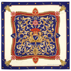 Aspinal Signature Shield Silk Scarf in Blue