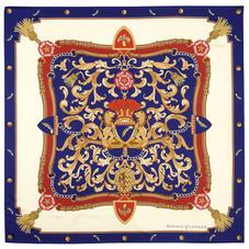 Aspinal Signature Shield Silk Scarf in Blue