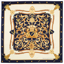 Aspinal Signature Shield Silk Scarf in Navy