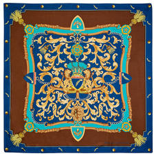 Aspinal Signature Shield Silk Scarf in Teal