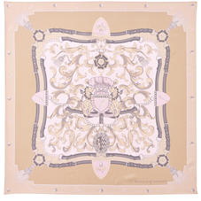 Aspinal Signature Shield Silk Scarf in Nude