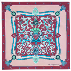 Aspinal Signature Shield Silk Scarf in Bordeaux