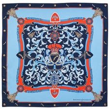 Aspinal Signature Shield Silk Scarf in Navy & Burnt Sienna