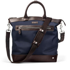 Anderson Tote in Navy Nylon & Smooth Chocolate Leather Trim