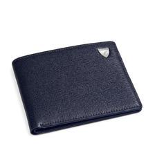 8 Card Billfold Wallet in Navy Saffiano & Smooth Navy