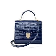 Mayfair Bag in Deep Shine Midnight Blue Small Croc