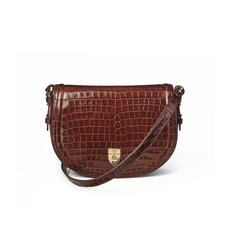 Stella Satchel in Deep Shine Chestnut Small Croc