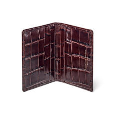 Double Fold Credit Card Holder in Deep Shine Amazon Brown Croc