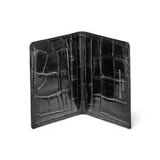 Double Fold Credit Card Holder in Deep Shine Black Croc