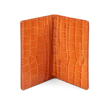 Double Fold Credit Card Holder in Deep Shine Marmalade Small Croc