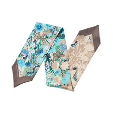 Botanical 'A' Silk Neck Bow Scarf in Storm Pure Silk