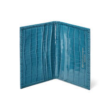Double Fold Credit Card Case in Deep Shine Topaz Small Croc