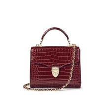 Midi Mayfair Bag with Chain Strap in Bordeaux Patent Croc