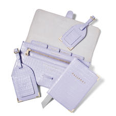 Travel Collection with Removable Inserts in Deep Shine English Lavender Croc